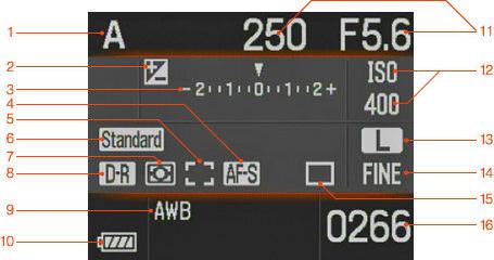 Цифровая зеркальная камера Sony DSLR-A100. Монитор