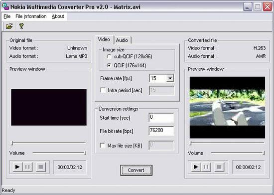 Nokia Multimedia Converter Prо, окно программы
