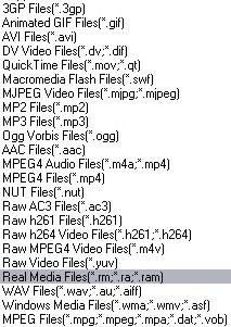 Xilisoft 3GP Video Converter, список поддерживаемых форматов