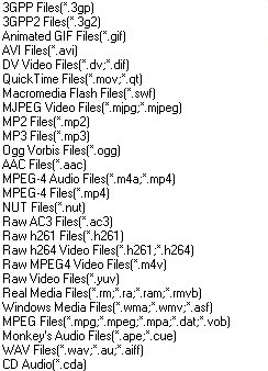 Xilisoft PSP Video Converter, список поддерживаемых форматов