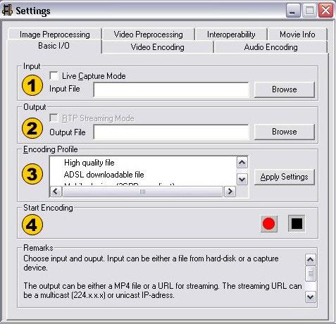 Mpegable X4 live, окно установок