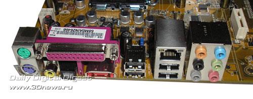 Задняя панель платы ASUS P5B