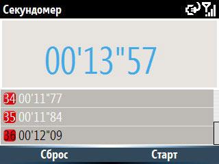 Samsung i600 Ultra.Секундомер