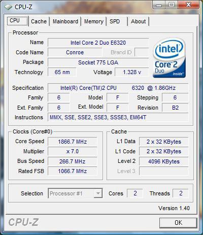 CPU-Z: Intel Core 2 Duo E6320