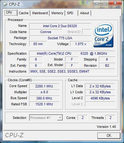 Разгон Intel Core 2 Duo E6320