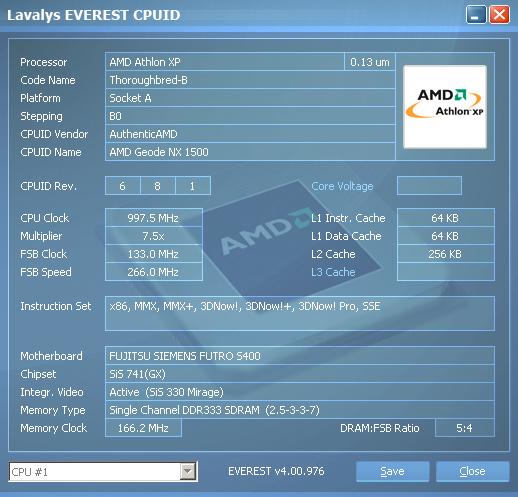 Samsung 720XT. Информация о процессоре.