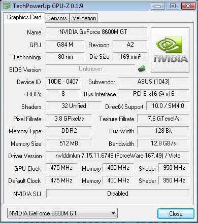GeForce 8600M GT 512 Мб DDR2