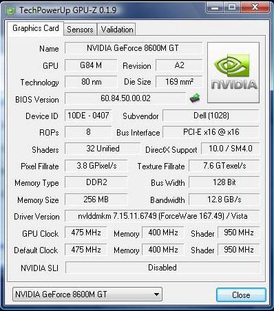 GeForce 8600M GT 256 Мб DDR2