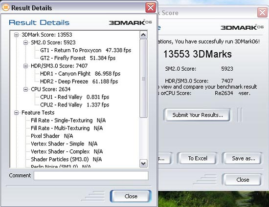 A detailed result for Gigabyte 9800GX2 at 3DMark 06 with the Core 2 Duo CPU.