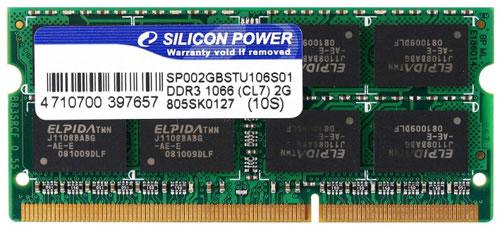 Silicon Power 2GB DDR3-1066 SO-DIMM Module