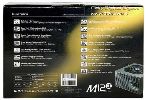 Упаковка Seasonic SS-500GM серии M12II