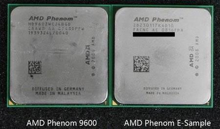 65-нм процессор Agena (слева) и 45-нм процессор Deneb (справа)