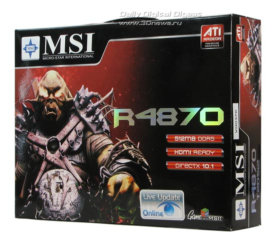 Коробка от MSI HD 4870, вид спереди