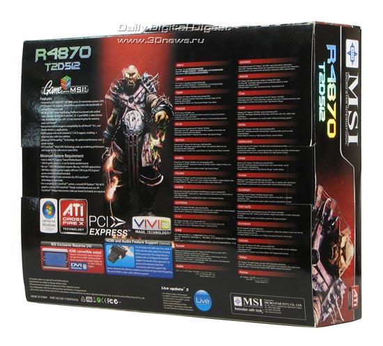 Коробка от MSI HD 4870, вид сзади