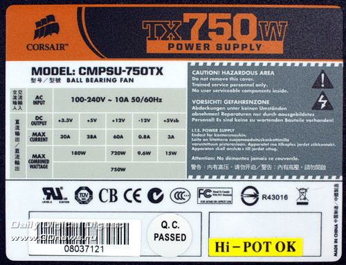Характеристики Corsair TX750W