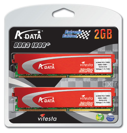A-DATA Vitesta Plus DDR3-1600+ 2GB Memory Kit