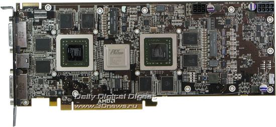 Sapphire Radeon HD 4870 X2 без системы охлаждения, вид спереди