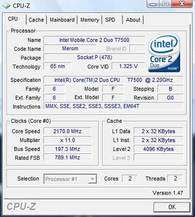 Core 2 Duo T7500