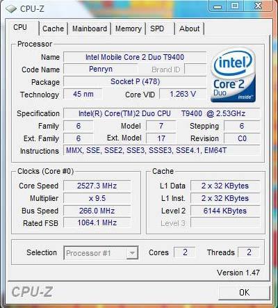 Core 2 Duo T9400