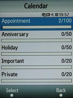 Samsung F480 Touchwiz. Состояние календаря