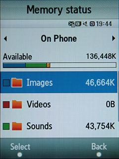 Samsung F480 Touchwiz. Состояние памяти