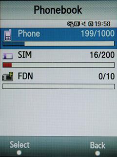 Samsung F480 Touchwiz. Состояние телефонной книги
