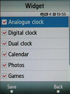 Samsung F480 Touchwiz. Настройка отображения Widget-ов