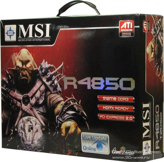 Коробка от MSI Radeon HD 4850, вид спереди