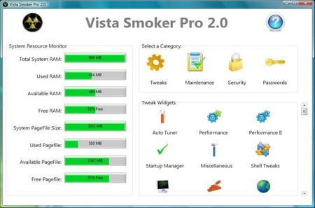 Vista Smoker Pro 2.3: оптимизатор для Vista 97770