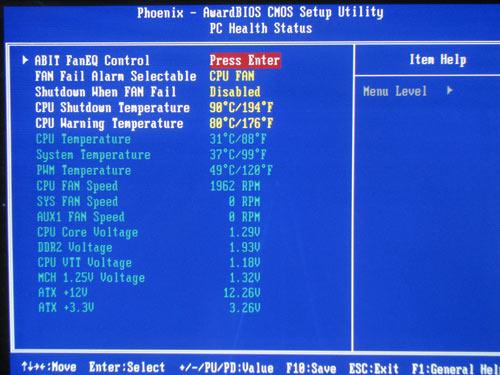 abit I-G31, system monitoring