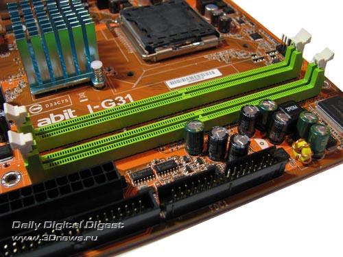 abit I-G31, DIMM slots