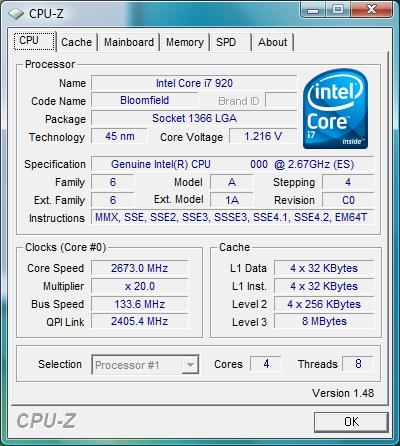 Intel Core i7-920 CPU-Z