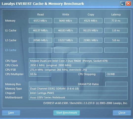 ASUS G50V. Информация о памяти