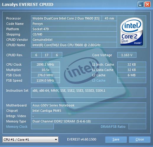 ASUS G50V. Информация о процессоре