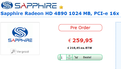 Цена AMD Radeon HD 4890