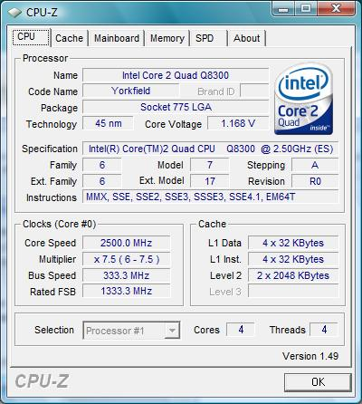 Intel Q8300 CPU-Z