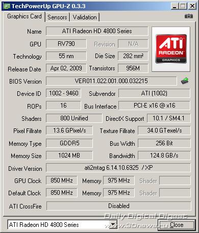 Sapphire Radeon HD 4890 1GB GDDR5