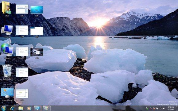 Обои windows 7, seven, горы, лед, солнце для рабочего стола - картинка #2019...