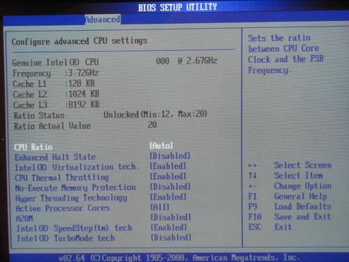 ASRock X58 Deluxe настройки CPU