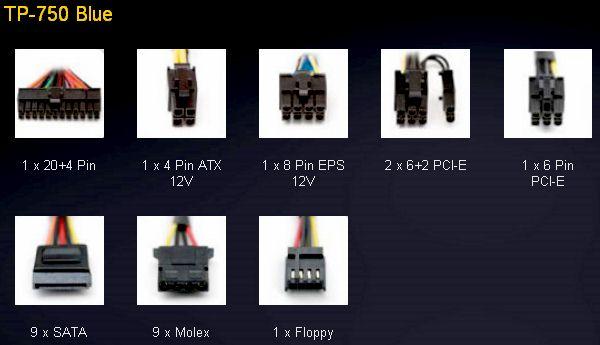 Суммарная разводка кабельного хозяйства Antec Truepower TP-750 Blue