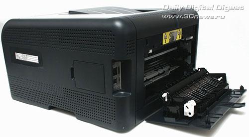 HP Color LaserJet CP1515n. Вид сзади с открытой крышкой