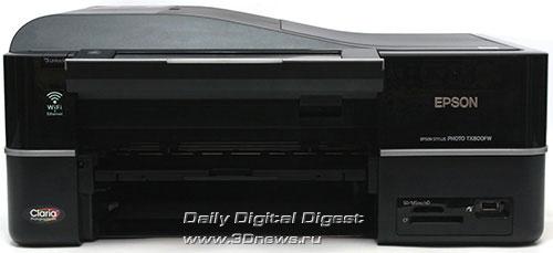EPSON Stylus Photo TX800FW. Вид спереди с изъятой кассетой и поднятым экраном