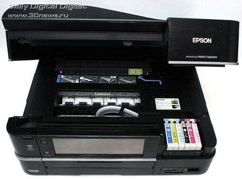 EPSON Stylus Photo TX800FW. Вид общий. Поднят модуль сканера