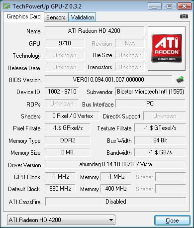 Biostar TA785GE-128M GPU over
