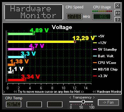 Biostar TA785GE-128M системный мониторинг 2