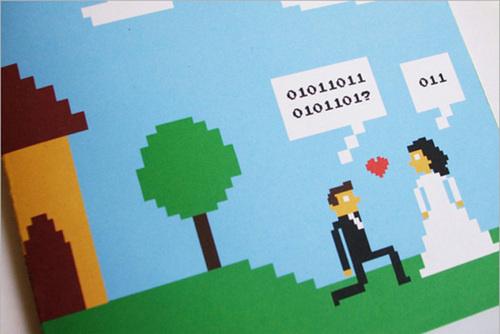 Оригинальные 8-битные свадебные приглашения