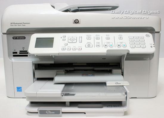 HP Photosmart Premium c309a. Вид спереди. Открыт модуль печати на поверхности оптических дисков