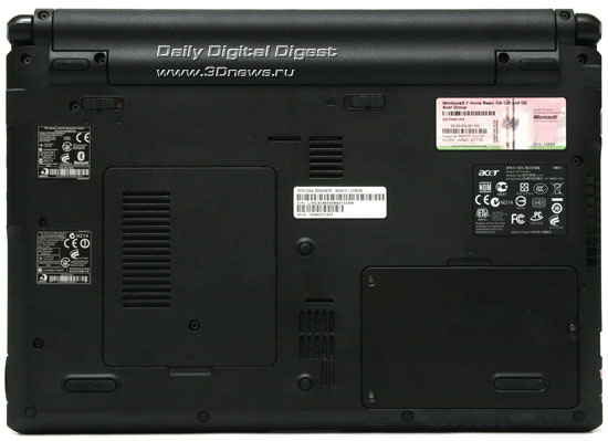 Acer Aspire As3410. Вид снизу