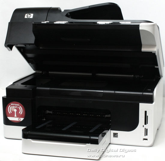 HP Officejet Pro 8500 Wireless (a909g). Вид общий с открытым  модулем сканера