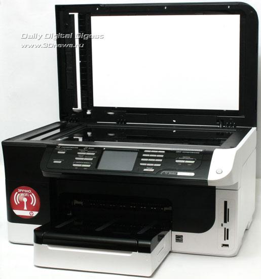 HP Officejet Pro 8500 Wireless (a909g). Вид общий с открытой  крышкой сканера